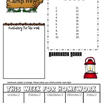 Camping Newsletter Editable Template