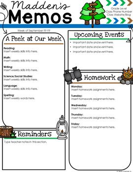 Camping Newsletter Template