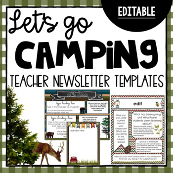 Camping Newsletter Templates ~ Editable