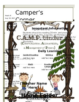 Camping Newsletter and Take Home Folder
