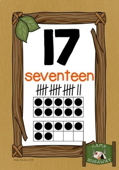 Camping Number Posters 0 to 20 with Tally Marks
