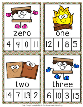 Camping S'mores Number Words Clip Cards
