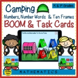 Camping Numbers, Number Words & Ten Frames BOOM & Task Cards Match Game