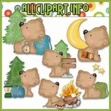Camping Out Bears Clip Art - Cheryl Seslar Clip Art
