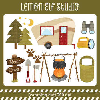 Camping Out-Digital Clipart (LES.CL69A)
