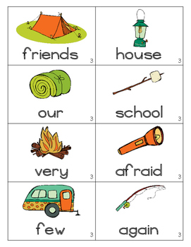 Camping Out~First Grade Unit 3 Common Core Sight Word Game