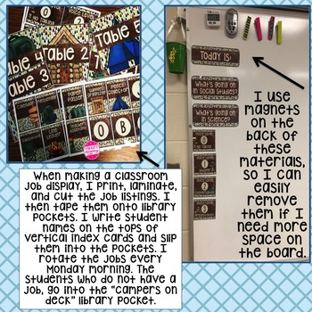 Camping, Outdoors, Woodland Themed Classroom Decor! Jobs, Table Numbers, etc