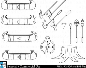 Camping Outline - Digital Clip Art Personal Commercial Use 35 images cod241