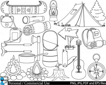 Camping Outline - Digital Clip Art Personal Commercial Use