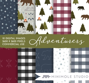 Camping Pattern Digital Paper, Bears, Woodland, Trees, Plaid, Commercial Use