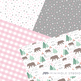 Camping Pattern Digital Papers, Adventure, Bears, Trees, Stars, Woodland