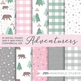 Camping Pattern Digital Papers, Adventure, Bears, Trees, S