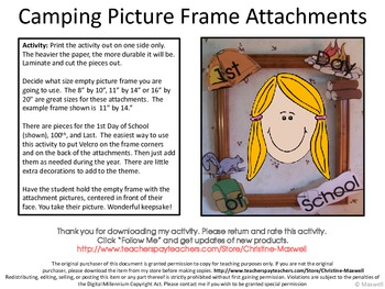 Camping Picture Frame Attachments First Day, 100th Day & Last Day Of School