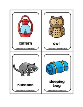 Camping Picture Word Flash Cards