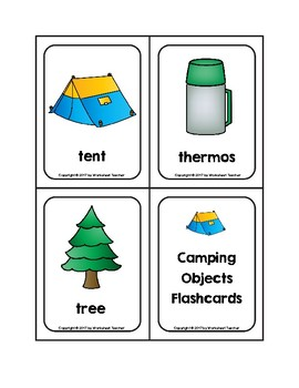 Camping Objects Picture Word Flash Cards