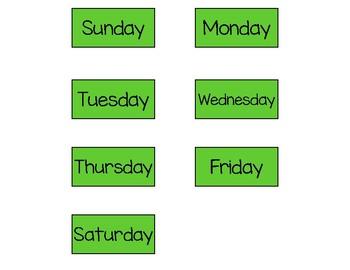 Camping Pocket Chart Calendar Set