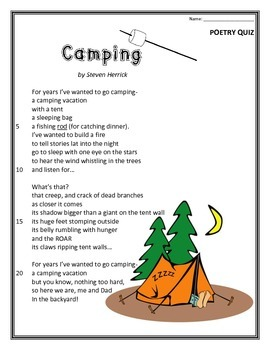 Camping- Poem and Quiz