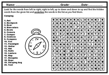 Camping Puzzle, Word Search Worksheet