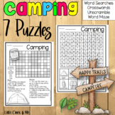 Camping Puzzles Word Search Crossword Activities