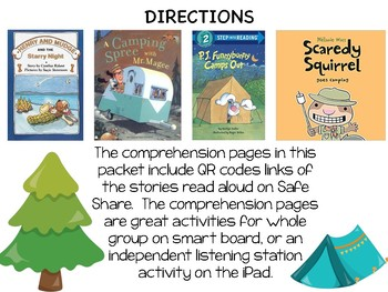 Camping QR Codes Read Alouds with Comprehension Sheets