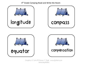Camping Read and Write the Room Fourth Grade - Common Core Aligned