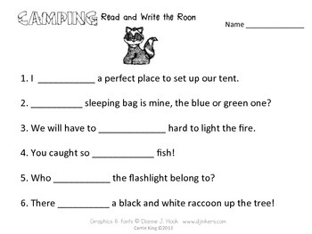 Camping Read and Write the Room Second Grade - Common Core Aligned
