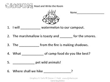 Camping Read and Write the Room Third Grade - Common Core Aligned