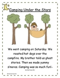 Camping Reading and Word Work Activities