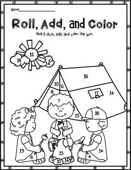 Camping: Roll and Color with 3 Dice