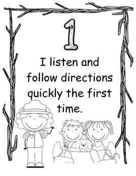Camping Rules of the Camp Classroom BW Coloring Sign Set