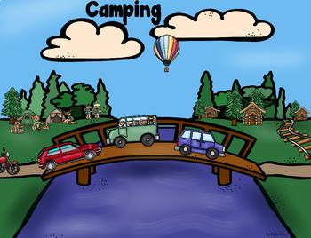 Grammar (Nouns, Verbs, Adj), Math, Writing ~ Camping Scene Card