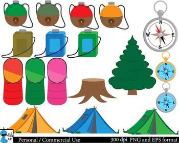 Camping Set Clipart Digital Clip Art Graphics 72 images cod29