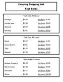 Camping Shopping Trip Money & Subtraction Task Grade 2