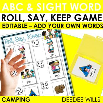 Camping Sight Words Roll, Say, Keep-Editable