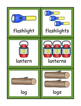 Camping Singular and Plural Noun Sort for Kindergarteners with -s and -es
