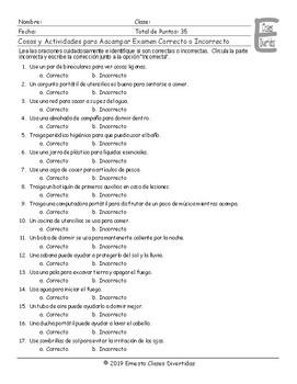 Camping Spanish Correct-Incorrect Exam