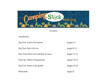 Camping Stick Kids 5 day camp curriculum