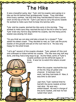 Camping Stories: Main Idea, Comprehension Questions, Facts, Fictional Texts
