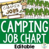 Camping Theme:  Student Job Chart (Editable)