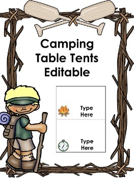 Camping Table Tents -Editable