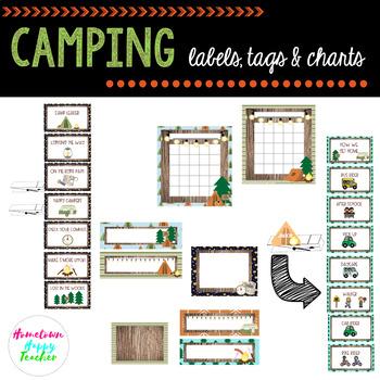 Camping- Tags, Labels, & Charts (Editable)