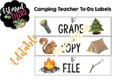 Camping Teacher To-Do Organizer Labels *editable*