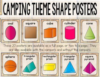Camping Theme 2D and 3D Shapes Posters - Camping Theme Classroom Decor