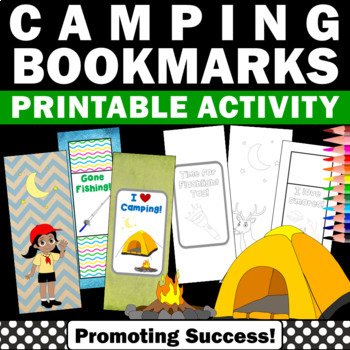 Camping Theme Activities, Summer Bookmarks to Color