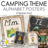 Camping Theme Alphabet Posters D'Nealian Font - Camping Th