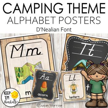 Camping Theme Alphabet Posters D'Nealian Font - Camping Theme Classroom Decor