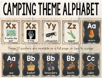 Camping Theme Alphabet Posters Primary Font - Camping Theme Classroom Decor