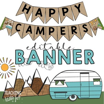 Camping Theme Banner Editable