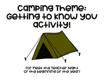 Camping Theme: Beginning of the year activity