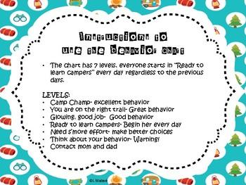 Camping Theme Behavior Chart